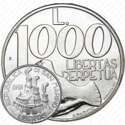 1000лир 1991, голубь