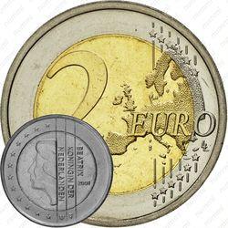 2 евро 2001, регулярный чекан Нидерландов