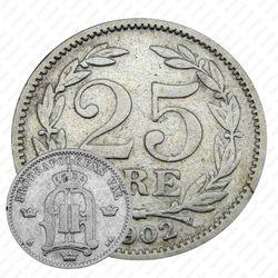25 эре 1902, большой размер надписей [Швеция]