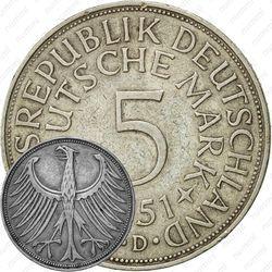 """5 марок 1951, D, знак монетного двора: """"D"""" - Мюнхен [Германия]"""