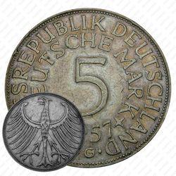 """5 марок 1957, G, знак монетного двора: """"G"""" - Карлсруэ [Германия]"""