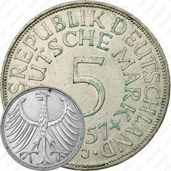 """5 марок 1957, J, знак монетного двора: """"J"""" - Гамбург [Германия]"""