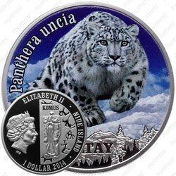 1 доллар 2014, снежный барс [Ниуэ] Proof