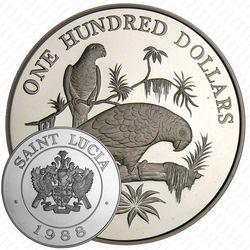 100 долларов 1988 [Сент-Люсия] Proof