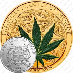 100 франков 2010, Конопля посевная (Cannabis sativa) (золото) [Бенин]