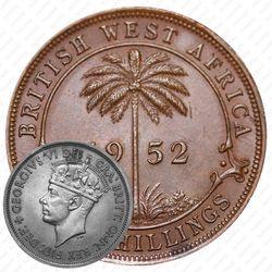 """2 шиллинга 1952, H, знак монетного двора: """"H"""" - Хитон, Бирмингем [Британская Западная Африка]"""
