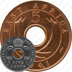 """5 центов 1941, I, знак монетного двора: """"I"""" - Бомбей [Восточная Африка]"""