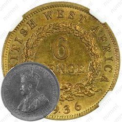 """6 пенсов 1936, H, знак монетного двора: """"H"""" - Хитон, Бирмингем [Британская Западная Африка]"""