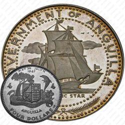 """4 доллара 1969, парусник """"Атлантическая звезда"""" [Ангилья] Proof"""