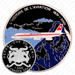 1000 франков 2002, История авиации - Convair 990 Coronado [Бенин]