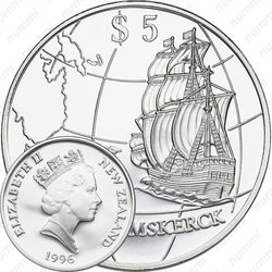 5 долларов 1996, Открытие Новой Зеландии Абелем Тасманом [Австралия]