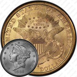 20 долларов 1882, голова Свободы