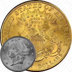 20 долларов 1904, голова Свободы