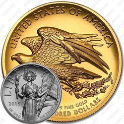100 долларов 2015, статуя свободы