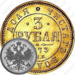 3 рубля 1873, СПБ-НІ