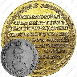 жетон 1765, в память учреждения Императорской Академии художеств в Санкт-Петербурге, золото