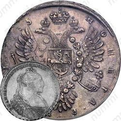 1 рубль 1735, хвост орла овальный