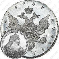 """1 рубль 1737, московский тип, копия медальера Л. Дмитриева со штемпеля И.К. Гедлингера. """"б. М. Анна...ВСЕРОСС•"""""""