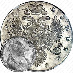 1 рубль 1735, хвост орла острый