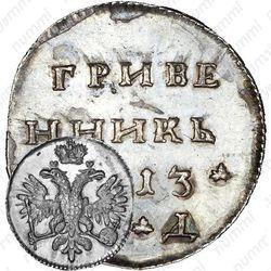 гривенник 1713, МД, Новодел
