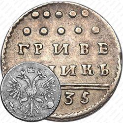 гривенник 1735