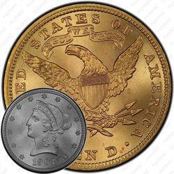 10 долларов 1901, голова Свободы
