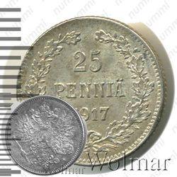 25 пенни 1917, S, гербовый орел с коронами