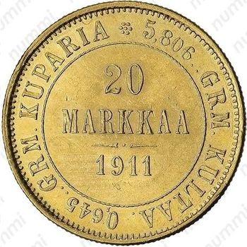 20 марок 1911, L - Реверс