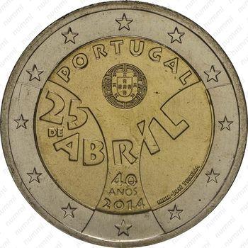 2 евро 2014, Революция гвоздик - Аверс