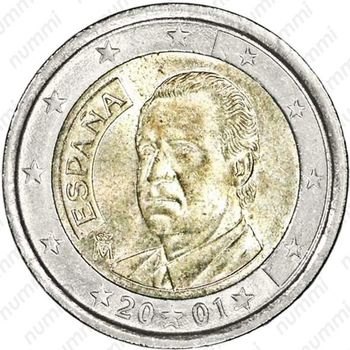 2 евро 2001, M, регулярный чекан Испании (Хуан Карлос I) - Аверс