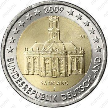 2 евро 2009, церковь Св. Людвига - Аверс