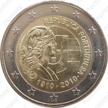 2 евро 2010, 100 лет Португальской Республике - Аверс