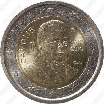 2 евро 2010, Камилло Кавур - Аверс