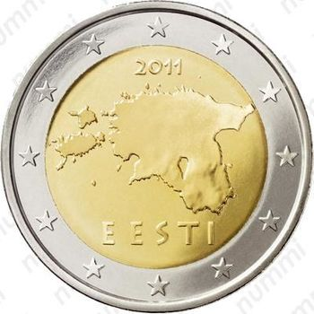 2 евро 2011, регулярный чекан Эстонии - Аверс