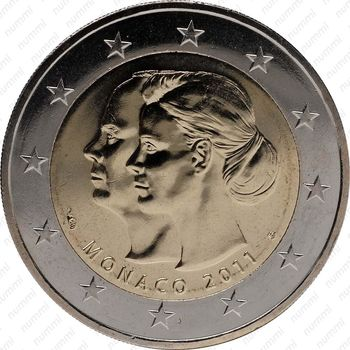 2 евро 2011, свадьба Альбера II и Уиттсток - Аверс