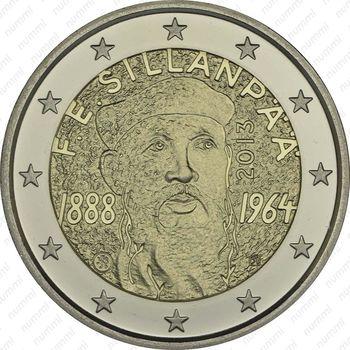 2 евро 2013, Ф. Э. Силланпяя - Аверс
