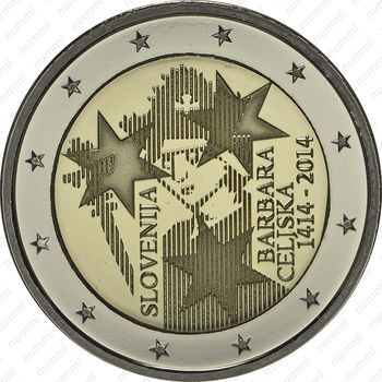 2 евро 2014, Барбара Цилли - Аверс