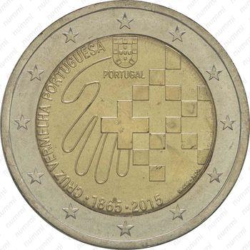 2 евро 2015, Красный Крест - Аверс