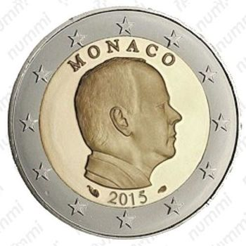 2 евро 2015, регулярный чекан Монако, Prince Albert II (князь Альберт II) - Аверс