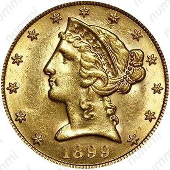5 долларов 1899, голова Свободы