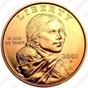 1 доллар 2001, Сакагавея - Аверс