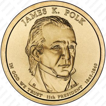 1 доллар 2009, Джеймс Полк - Аверс