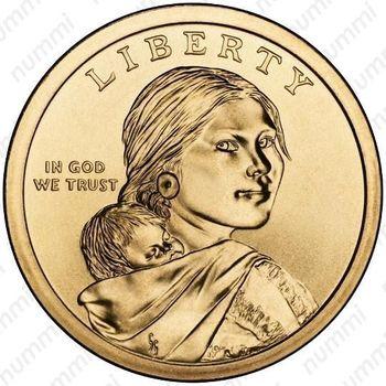 1 доллар 2013, Сакагавея - Аверс
