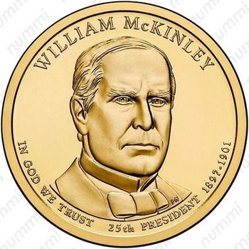 1 доллар 2013, Уильям Мак-Кинли - Аверс