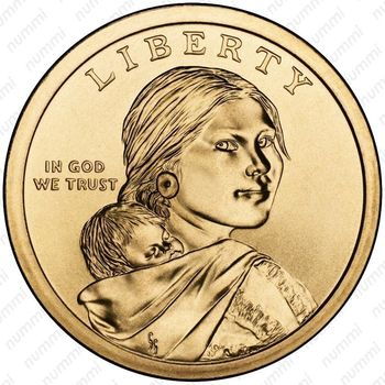 1 доллар 2012, Сакагавея - Аверс