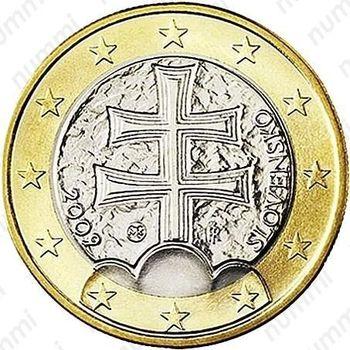 1 евро 2009, регулярный чекан Словакии - Аверс