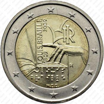 2 евро 2009, Луи Брайль - Аверс