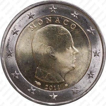 2 евро 2011, регулярный чекан Монако, Prince Albert II (князь Альберт II) - Аверс
