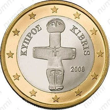 1 евро 2008, регулярный чекан Кипра - Аверс