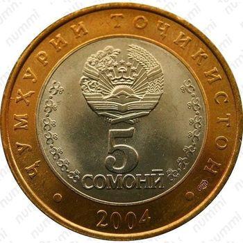 5 сомони 2004, 10 лет Конституции